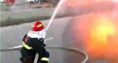 გორთან ბამბით დატვირთულ ტრაილერს ცეცხლი გაუჩნდა